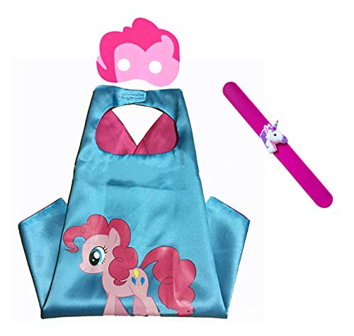 Raclove My Little Pony Costume Set-Cape, Mask and Pops Ring. for Age 4-10 Kids Boys and Girls. Wonderful Dressing up Gifts for Halloween Birthday Party Superhero Day and Play Day (Pinkie Pie)