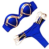 CHIDY Women Two Piece Swimwear Bandeau Hot Stamp Sport Hollow Bikini Set Bandage Push-Up Swimsuit Bathing Suit Blue