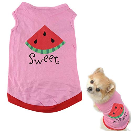 Howstar Pet Shirt, Printed Puppy Shirt Dog Clothes Soft Vest for Summer Pet Apparel (S, Pink)