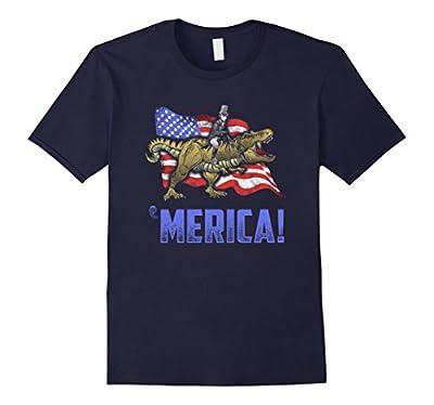 Mens Abe Riding a Dinosaur! Merica! Funny July 4th T-Shirt XL Navy