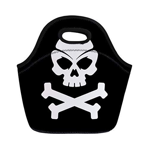 Semtomn Neoprene Lunch Tote Bag Crossbones Pirate Skull Black Bones Brain Collection Death Dice Reusable Cooler Bags Insulated Thermal Picnic Handbag for Travel,School,Outdoors, Work]()