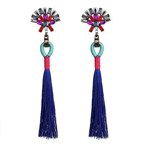 Simple Handwork Colorful Crystal Tassel Earrings Bridal Wedding Jewelry Dangle Earrings (Blue) by MYANAIL