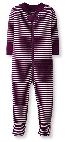 Moon and Back by Hanna Andersson Baby/ Toddler One-Piece Organic Cotton Footed Pajama, Berry, 3T