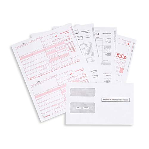 1099 MISC 4 Part Tax Forms Kit, 25 Vendor Kit of Laser Forms Designed for QuickBooks and Accounting Software, 25 Self Seal Envelopes Included