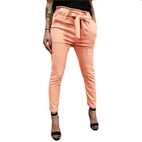Clearance Deals Harem Pants, vermers Women High Waist Bandage Elastic Waist Stripe Casual Pants(L, Orange)
