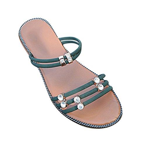 für Sandalen Schuhe Open Low Hausschuhe Damen Flache Elegante Toe Strass Römische Top Grün Jitong awBx4XqS