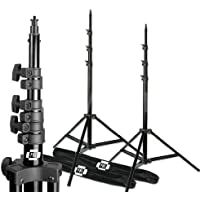 10ft Photography Studio Video Lighting Stands, Air Cushioned, Set of 2, with Cord Ties, Steve Kaeser Photographic Lighting
