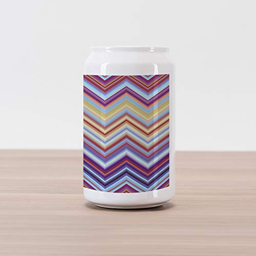 (Ambesonne Chevron Cola Can Shape Piggy Bank, Chevron from Small Strikes Horizontal Stripes in Contemporary Design, Ceramic Cola Shaped Coin Box Money Bank for Cash Saving, Purple Red Khaki Blue)