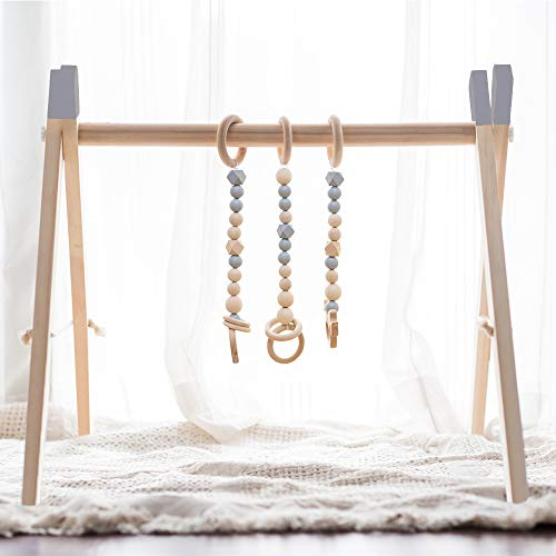 little dove Wood Baby Gym with 3 Wooden Baby Teething Toys Foldable Play Gym Frame Activity Gym Hanging Bar Newborn Gift Baby Girl Boy Gym Montessori Toy Top Grey