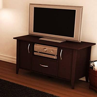 "Basics Chocolate TV Stand, for TVs up to 50"" Contemporary TV Stand has 2 Doors"