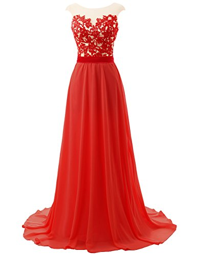 Prom Dresses Long Bridesmaid Dress Lace Evening Gowns Chiffon Open Back Evening Dresses Cap SleeveRed US18W
