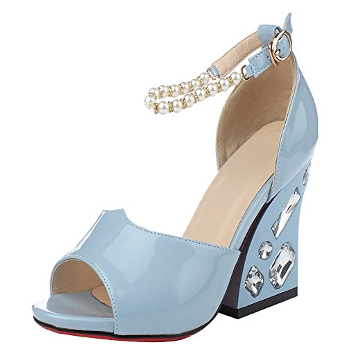 Mee Shoes Damen süß speziell heels open toe Pumps Blau