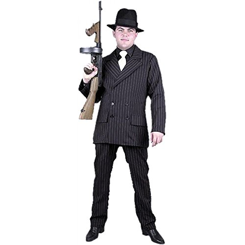 Speakeasy Costume Men (Mens 1920s Mobster Gangster Costume - 6 Button Double Breasted Suit (Black/White) - Adult X-Large)