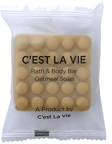 100 Bulk Pack - Oatmeal Soap Bars by C'EST LA VIE - 40g / 1.4oz - Hotel Guest Travel Amenities - Individually Wrapped in EV Responsible Packaging, Vegetable Based & Cruelty Free