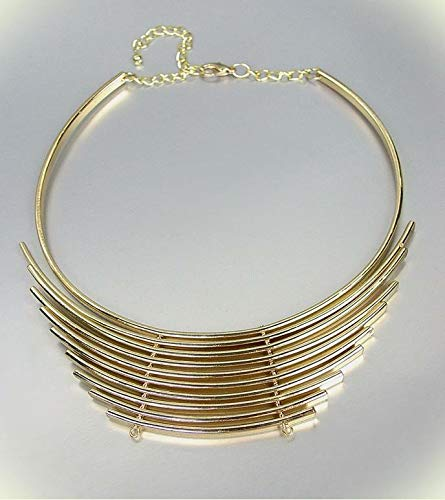 Chic & Unique Graduated Gold Metal Curved Bars Collar Choker Necklace For Women