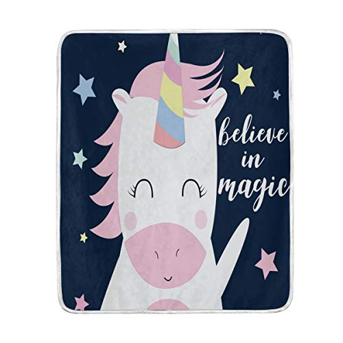 (Cute Cartoon Baby Unicorn Stars Soft Warm Throw Blankets Lightweight Velvet Short Plush Microfiber Blanket for Bed Couch Chair Sofa Travelling Camping 50'' x 60'')