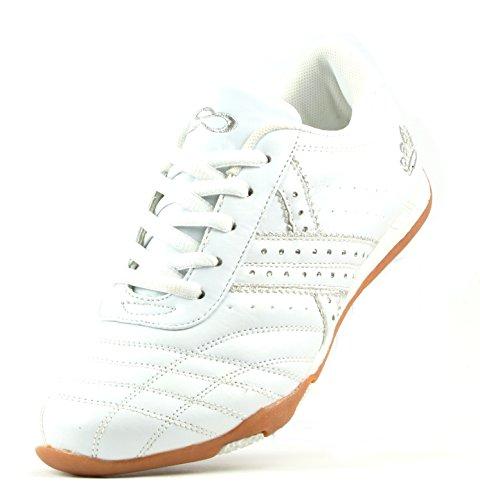 LS Special 7-7045-2 Damen Freizeit-Sneaker weiss mit Strass-Besatz und Silber-Stickerei (EU 36-41) Weiß