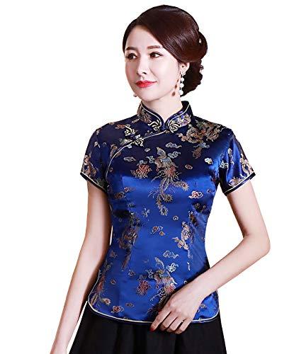 Shanghai Story Chinese Cheongsam Shirt Short Sleeve China Blouse for Women 10 L Blue