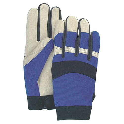Majestic Glove 2152/10 Industrial Glove, Beige Pigskin Palm, Knit Back, Large, Size 10, Blue/Tan (Pack of 12)