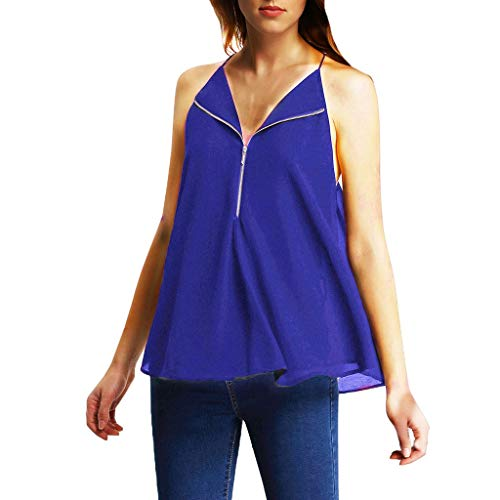 Giulot Women Classic Halter Off Shoulder Tunic Shirt Sexy Swing Dress T-Shirt for Club Cut Out Keyhole Back Tank Top Blue