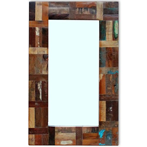 Festnight Retro Wall Mirror Reclaimed Wood Frame Bedroom Mirror Bathroom Vanity Glass Mirror Entrance Hall Living Room Home Decor ()