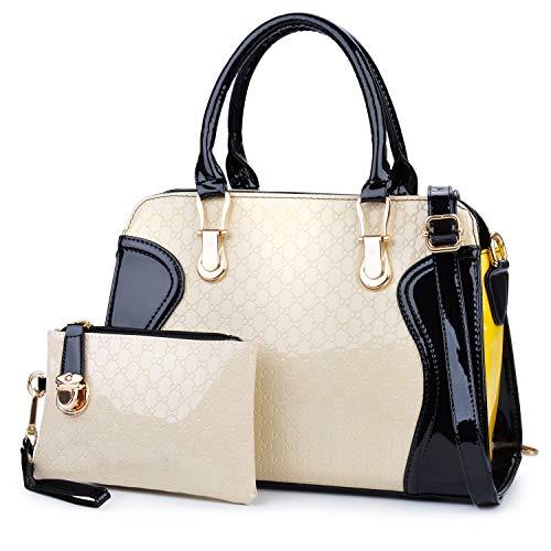 Coofit Moda Borse Donna Messenger Bag Borse in Pelle Tote Borsa Style Borsetta + Small Bag + Orso Portachiavi + Cartolina Bianco nero