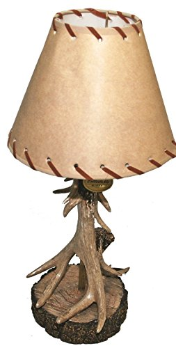 Single Antler Lamp With Deer ()