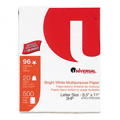 Universal : Copy/Laser Paper, Three-Hole, 98 Brightness, 20lb, White, 5,000 Sheets/Carton -:- Sold as 2 Packs of - 10 - / - Total of 20 Each by Universal