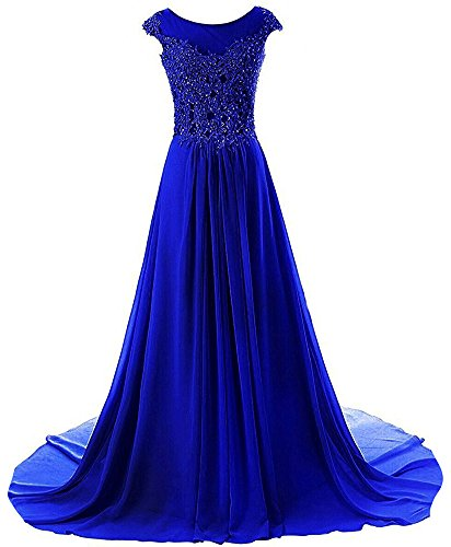 Prom Dresses Long Evening Gowns Lace Bridesmaid Dress Chiffon Prom Dress Cap Sleeve Royal Blue US18W