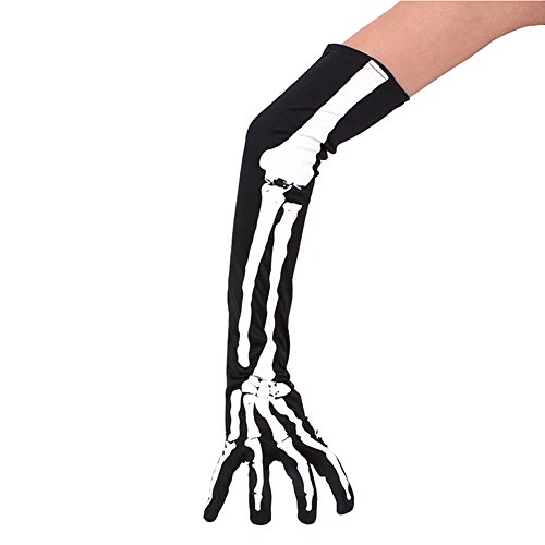 ZTL Halloween Skeleton Gloves Long Arm Full Finger Gloves Cosplay Party Costume Accessories 1 Pair ()