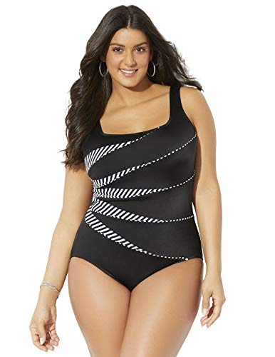 Swimsuits for All Women's Plus Size Longitude Tank One Piece Swimsuit 24 Multi - Piece One Longitude