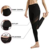 MCEDAR Women's Sport Yoga Leggings High Waist Workout Pants Mesh Tights for Running Jogging Gym (S, Black #1)