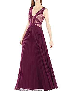 BCBG Max Azria Womens Evonne Lace Inset Pleated Evening Dress