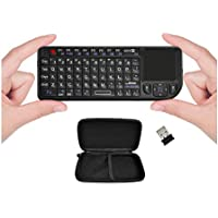 FAVI FE01 2.4GHz Wireless USB Mini Keyboard with Mouse Touchpad, Laser Pointer, Case - USA Version (Warranty) - Black (FE01-BL-C)