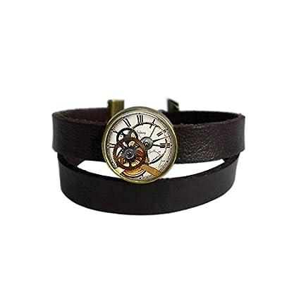 LooPoP Vintage Punk Dark Brown Leather Bracelet Steampunk Clock Watch Belt Wrap Cuff Bangle Adjustable