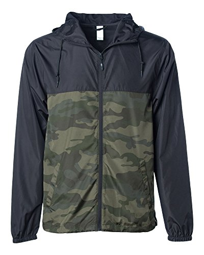 - Global Blank Men's Lightweight Windbreaker Winter Jacket Water Resistant Shell Black/Camo