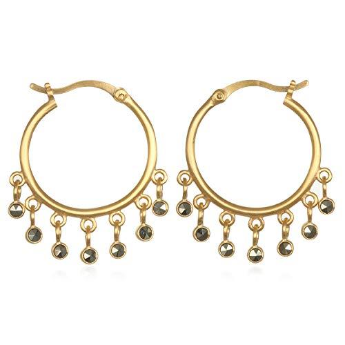 (Satya Jewelry Women's Pyrite Gold Hoop Earrings, One Size)