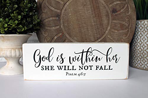 Adonis554Dan Psalm 465 God is Within her She Will not Fall Blessing Block Scripture Wood Sign Home Decor Graduation Baptism ()
