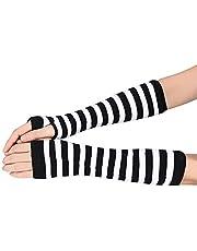 Glove Striped finger cotton long glove white Winter Wrist Arm Hand Warmer Knitted striped Fingerless Gloves Mitten For Gifts