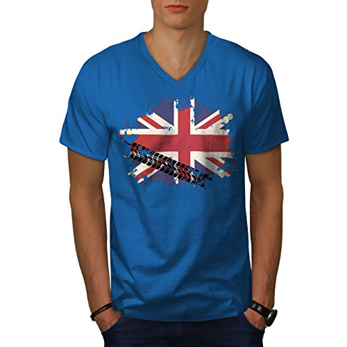 wellcoda Union Jack Flag Mens V-Neck T-Shirt, Britain Graphic Print TeeRoyal Blue (British Organic Mens T-shirt)