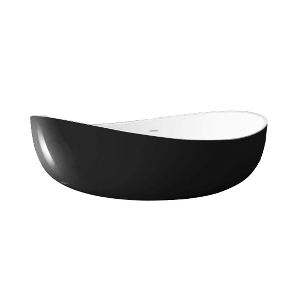 Farbe:Schwarz//Wei/ß Hochglanz Standarmatur:Inkl 180 x 110 x 62 cm Freistehende Badewanne WAVE Acryl Schwarz oder Schwarz//Wei/ß Standarmatur 8028 Siphon Siphon:Inkl