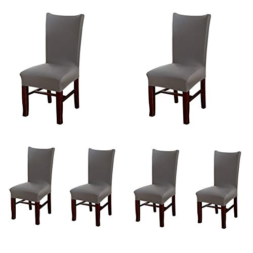 My Decor Super Fit Stretch Removable Washable Short Dining Chair Protect Cover Slipcover Style 19, 6 Pack