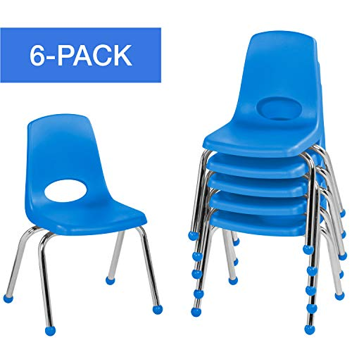 "14"" School Stack Chair, Stacking Student Chairs with Chromed Steel Legs and Ball Glides - Blue (6-Pack)"