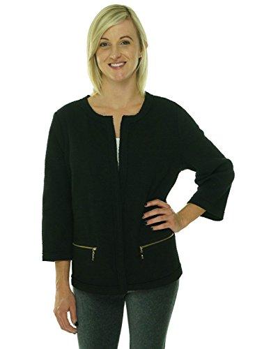 (Alfani Women's Plus Long Sleeve Jacquard Open Front Jacket Deep Black (1x) )