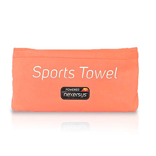NEXERSYS Microfiber Sports Towel. 2-in-1 Workout Towel and Car Seat Protector. Dual Pocket Design. Universal Fit. Large Multipurpose Exercise Towel. Quick Dry, Antimicrobial. (Coral) ...