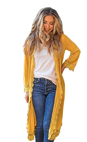3/4 Sleeve Lace Trim Cardigan (Mustard, Small)