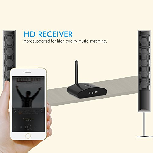 Besign BE-RX Long Range Home HD Bluetooth Music Receiver, Wireless Audio Adapter for Music Streaming, Aptx, Support Optical, Coaxial & 3.5mm Audio by BESIGN (Image #2)