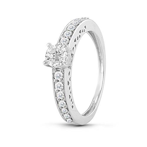 Diamond2Deal Diamond Wedding Engagement Ring 14K In White Gold 1/2 Ct Size-5 for Women from Diamond2Deal