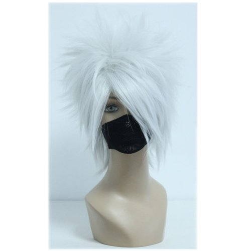 COSPLAZA Fluffy Silver/Grey Short Halloween Anime Show Party Props Boy Teens Role Play Cosplay Wigs