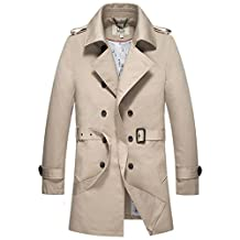 E-artist Men's Trench Coat Long Double Breasted Overcoat F14